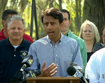 Governor Bobby Jindal visits the Bayou Corne sinkhole
