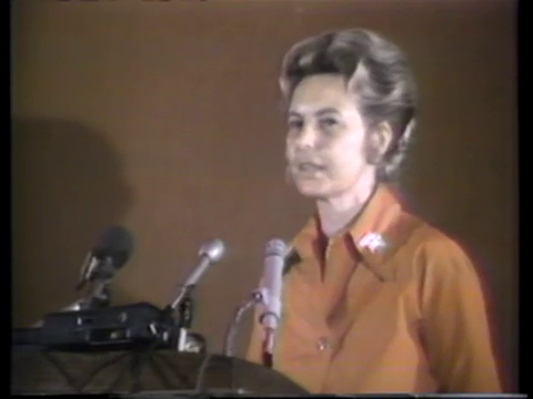 Phyllis Schlafly discussing her opposition to the Equal Rights Amendment