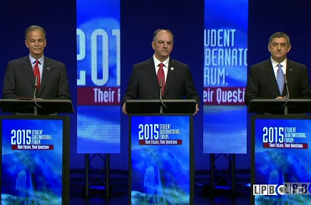 Scott Angelle, John Bel Edwards, and Jay Dardenne at Debate