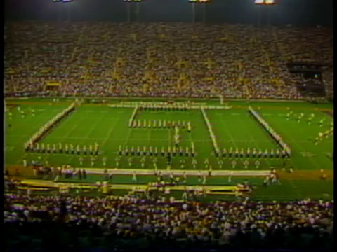LSU Marching Band spelling out LSU on the field at Tiger Stadium