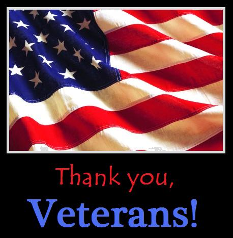 Thank You, Veterans with a picture of the American Flag