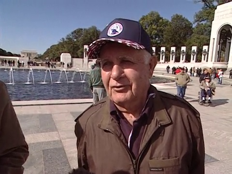 Veteran at World War II Memorial